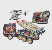 3207 656pcs Military War City Thunder Mission Army Super Weapon Rocket Car Enlighten Building Blocks