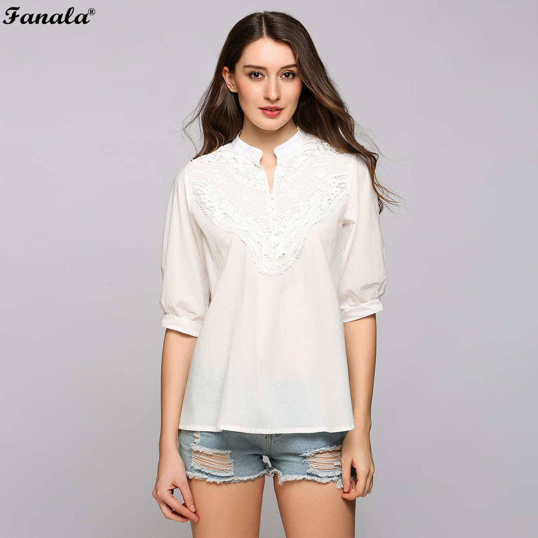 Fanala белые рубашки 2017 женские летние футболки кружева выдалбливают лоскутное стоять воротник половины рукав пуловер топы blusas femme #30