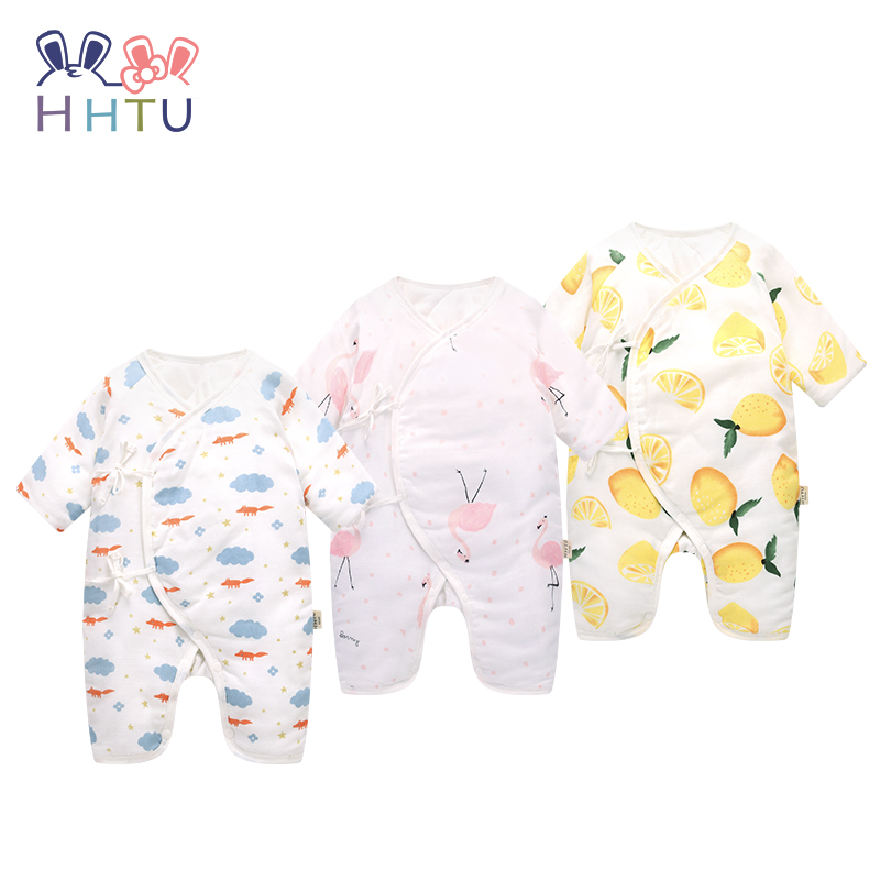 HHTU 2017 New Fashion Newborn Baby Boys Girls Rompers Cotton Clip Autumn Winter Clothing Thickening Casual Infant Jumpsuit christmas 2017 brand new winter newborn infantil baby rompers kid boys and girls clothing real fur jumpsuit down overall jacket