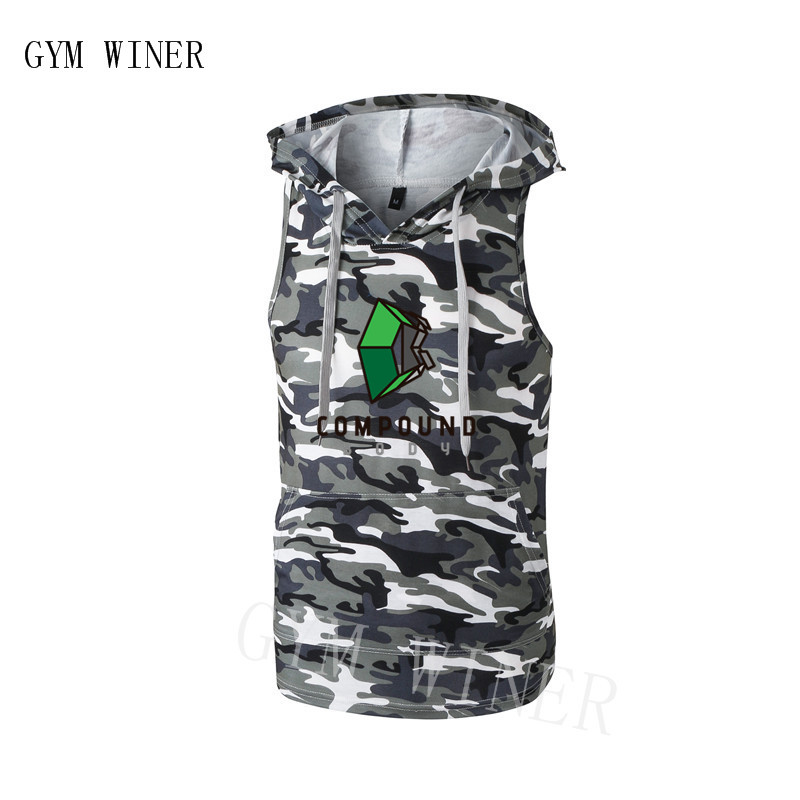 Bodybuilding Stringer   Tank     Top   with hooded Mens Gyms Clothing Fitness Mens Sleeveless Vests Cotton Singlets Muscle Tankops