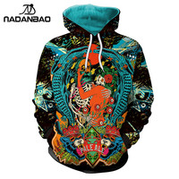 NADANBAO New Arrival Hiphop Hoodies Skeleton Party 3D Printed Dancing Cool Fashion Design Sweatshirt Thin Hooded