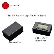1 Unidades V1 Plástico Infrarrojo Ultrared Racing Track Day Cronómetro Cronómetro Inalámbrico Transmisor Receptor Automático de Tiempo de Vuelta Negro