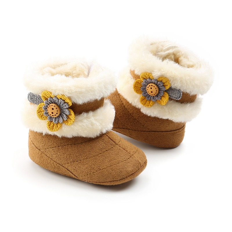Baby Boots Girl 2018 Beautiful Flowers Plus Velvet Soft Bottom Baby Toddler Boots Soft Plush Warm Baby Boots