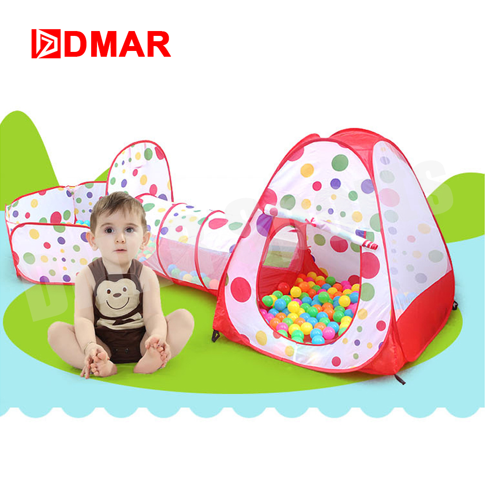 DMAR Swimming Ocean Ball Pool Tent Game House Tunnel Toy Set Indoor For Child 3 Piece Suit Folding Crawl Puzzle game Accessories
