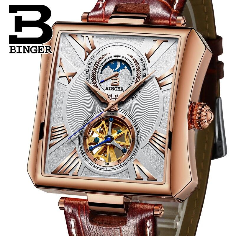 Новый автоматические механические часы Для мужчин сапфир Бингер Элитный бренд Водонепроницаемый Часы мужской Tourbillon наручные часы b-5071m-3