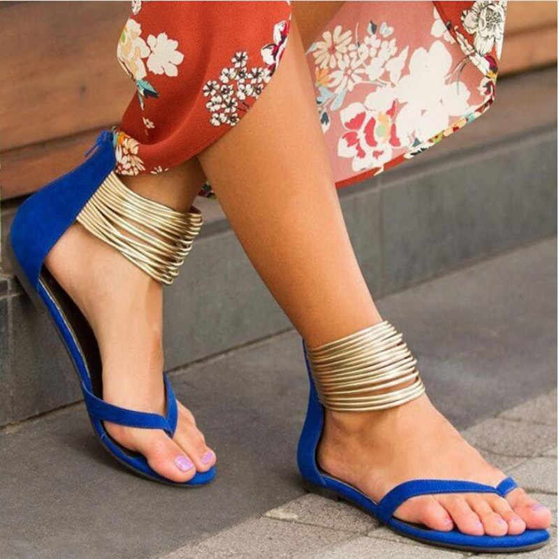 Zapatos Mujer Sapato sandalias Dames Platte Casual Vrouwen Faux Suède Schoenen Vrouw Zomer Sandalen Enkel Metalen Decor Gothic Zip Terug