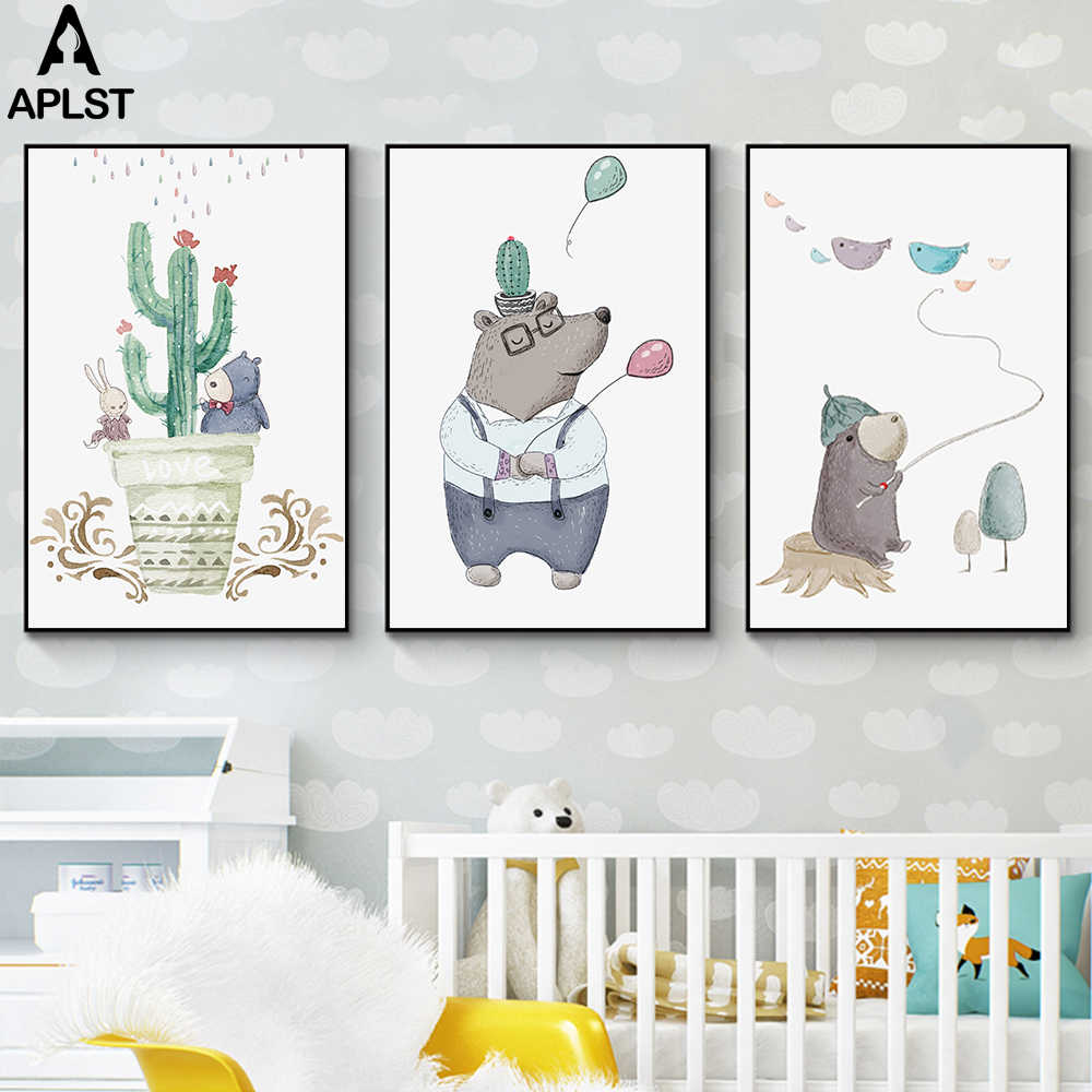 Infant Baby Room Home Decor Cute Cartoon Brown Bear Print Painting Cactus Wall Art Picture Canvas Poster for Children Kids Room