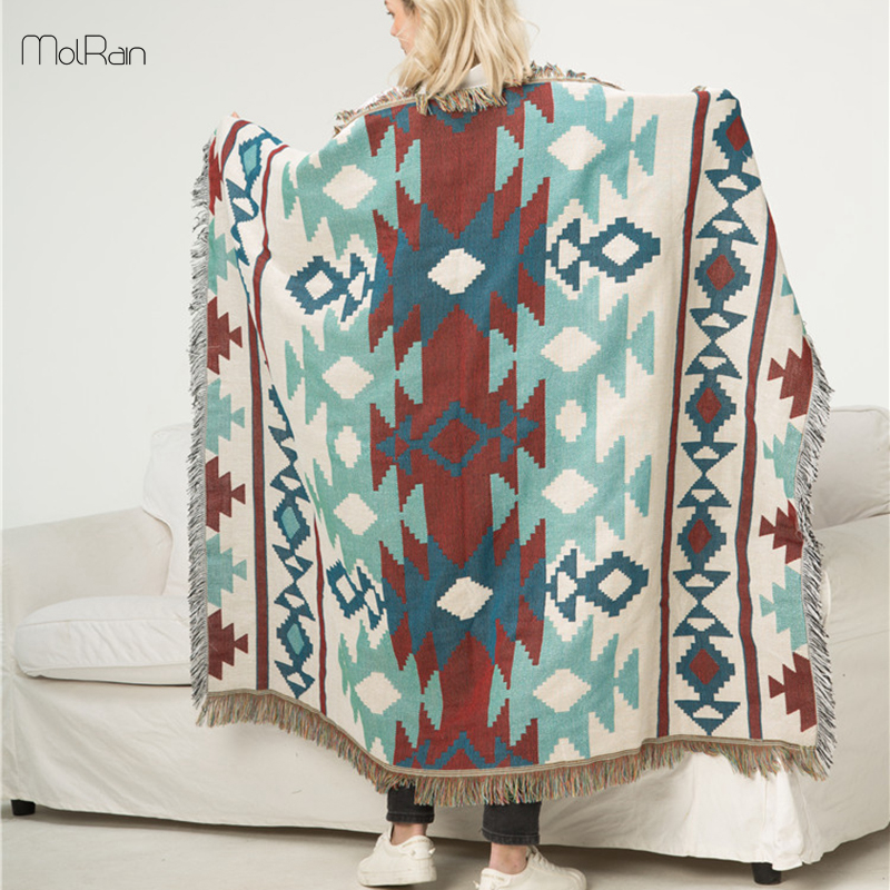 Us 35 04 47 Off Blanket Throw Sofa Cover Mats Retro Towel Tribal Tapestry Throws Ethnic Wind Geometric In Blankets From Home