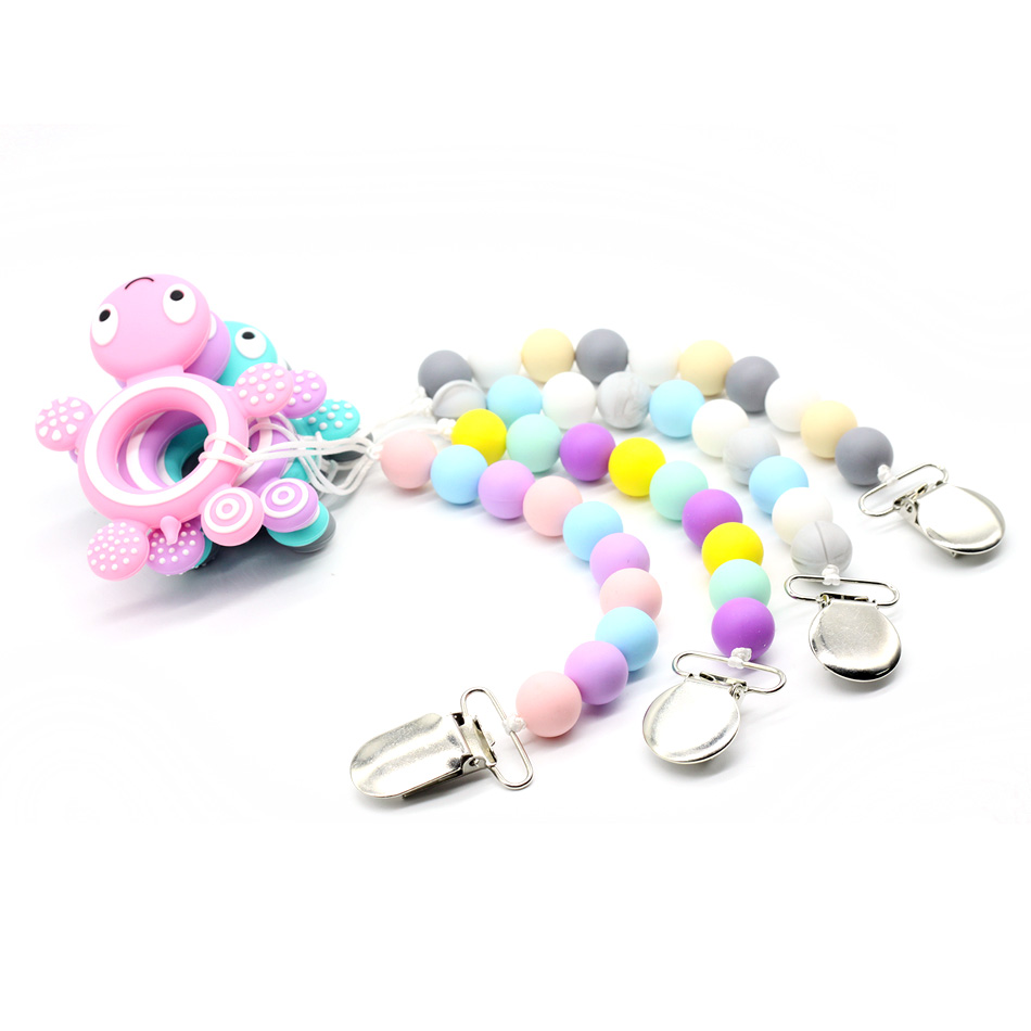 Soother Clips Baby Dummy Clips Baby Teething Toys Tortoise Shaped Baby Shower Gifts Silica gel Toy Car Hanging Chupeta