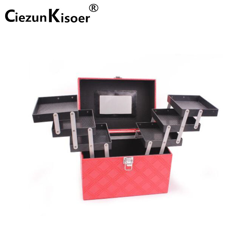 Ciezun Kisoer 2017 Portable cosmetic bag large capacity cosmetic collection box multi-purpose professional cosmetic case