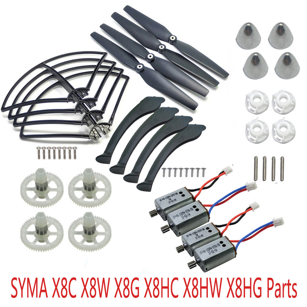 SYMA X8 X8C X8W X8G X8HC X8HW X8HG RC Drone Parts Main Motor Engine Propellers Landing Gear Protective Ring With Fixed Kit syma x8 x8c x8w x8g x8hc x8hw x8hg rc drone spare parts landing gear upgrade version quadcopter helicopter landing skids