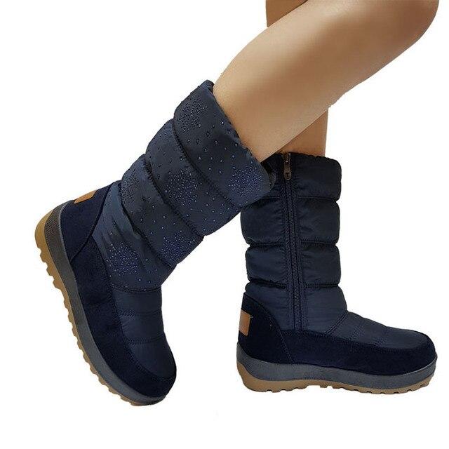 UKNIKI inverno sapatos com zip curto pelúcia 2018 New Feminino básico Sólidos mid-calf botas de inverno mulheres neve botas