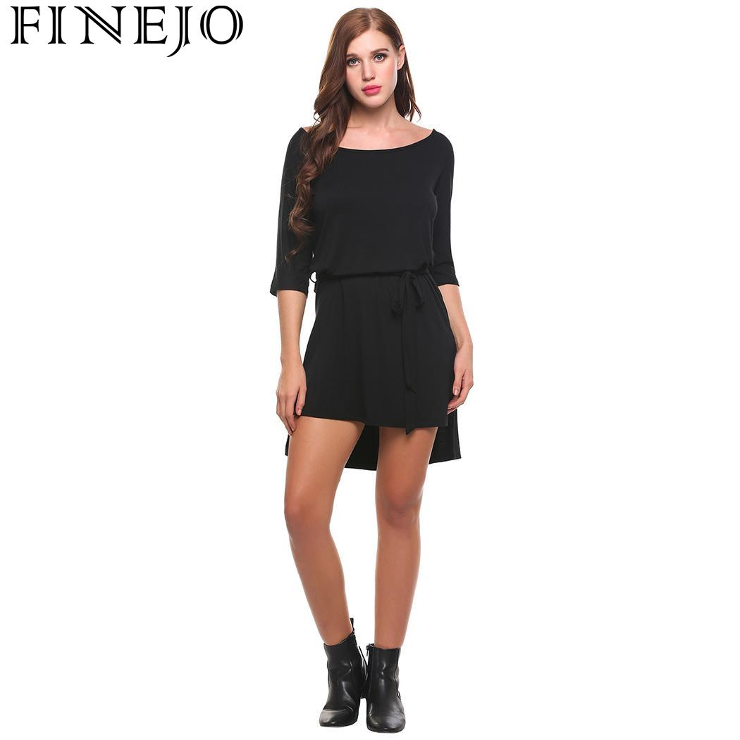 355ec3e7b7 FINEJO Dress Summer Loose Long O-Neck Short Sleeve Solid Hem Split Sey Women  Pullover vestidos de fiesta with Belt For Party