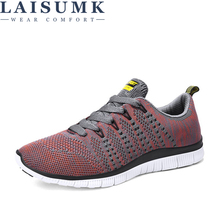 LAISUMK Men Mesh Casual Shoes Tenis Masculino Adulto Breathable Spring Autumn Lace-Up Comfortable Fashion Lightweight
