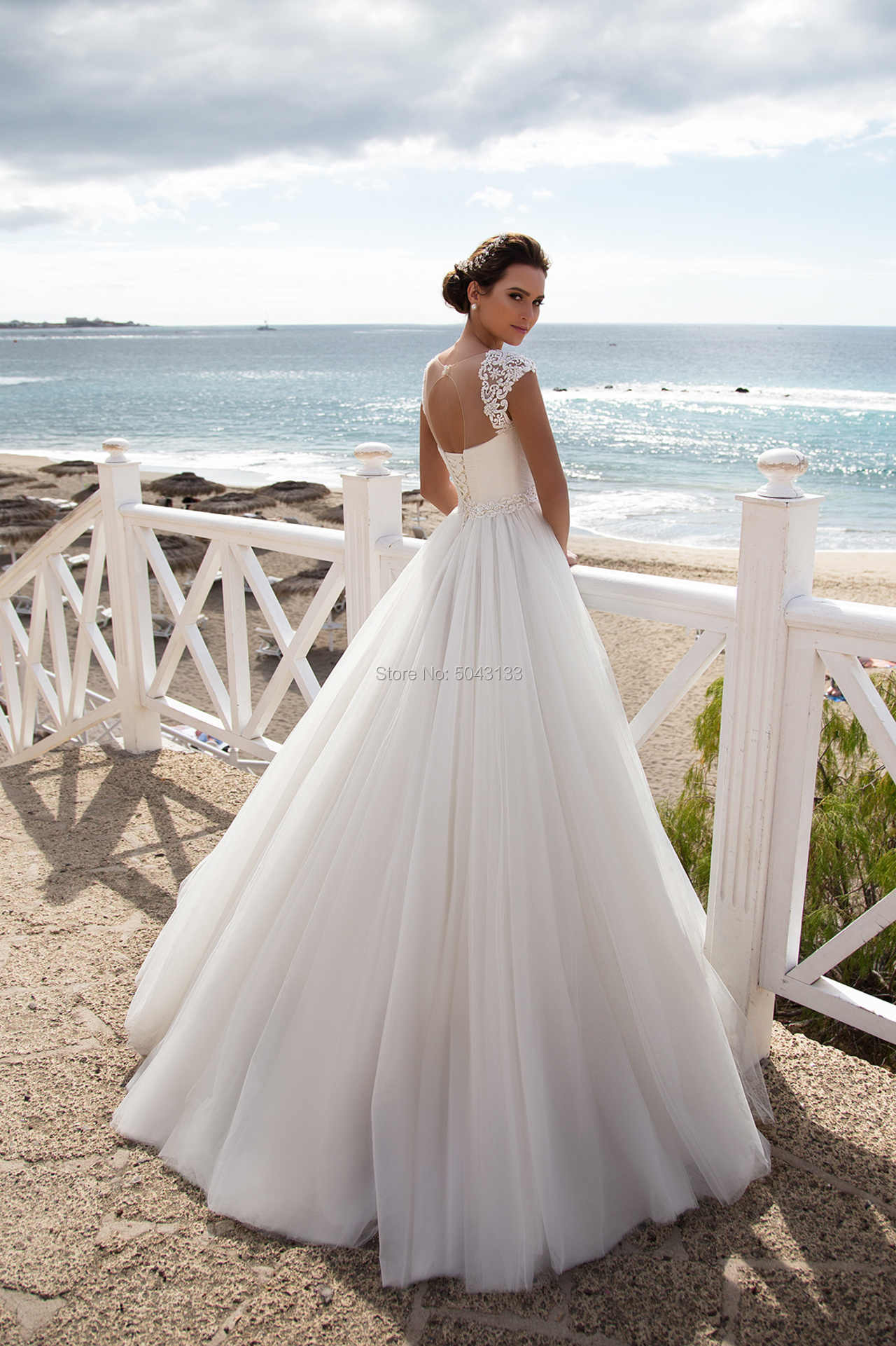 Balo Tül Gelinlik 2019 Illusion Sevgiliye Dantel Aplikler Sapanlar Düğün gelinlikler Boncuklu Kanat ile Vestidos
