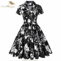 SISHION Cotton Autumn Dress Elegant 2018 Short Sleeve Women Black with White Flower Floral Dress Plus Size Vintage Dress SD0002