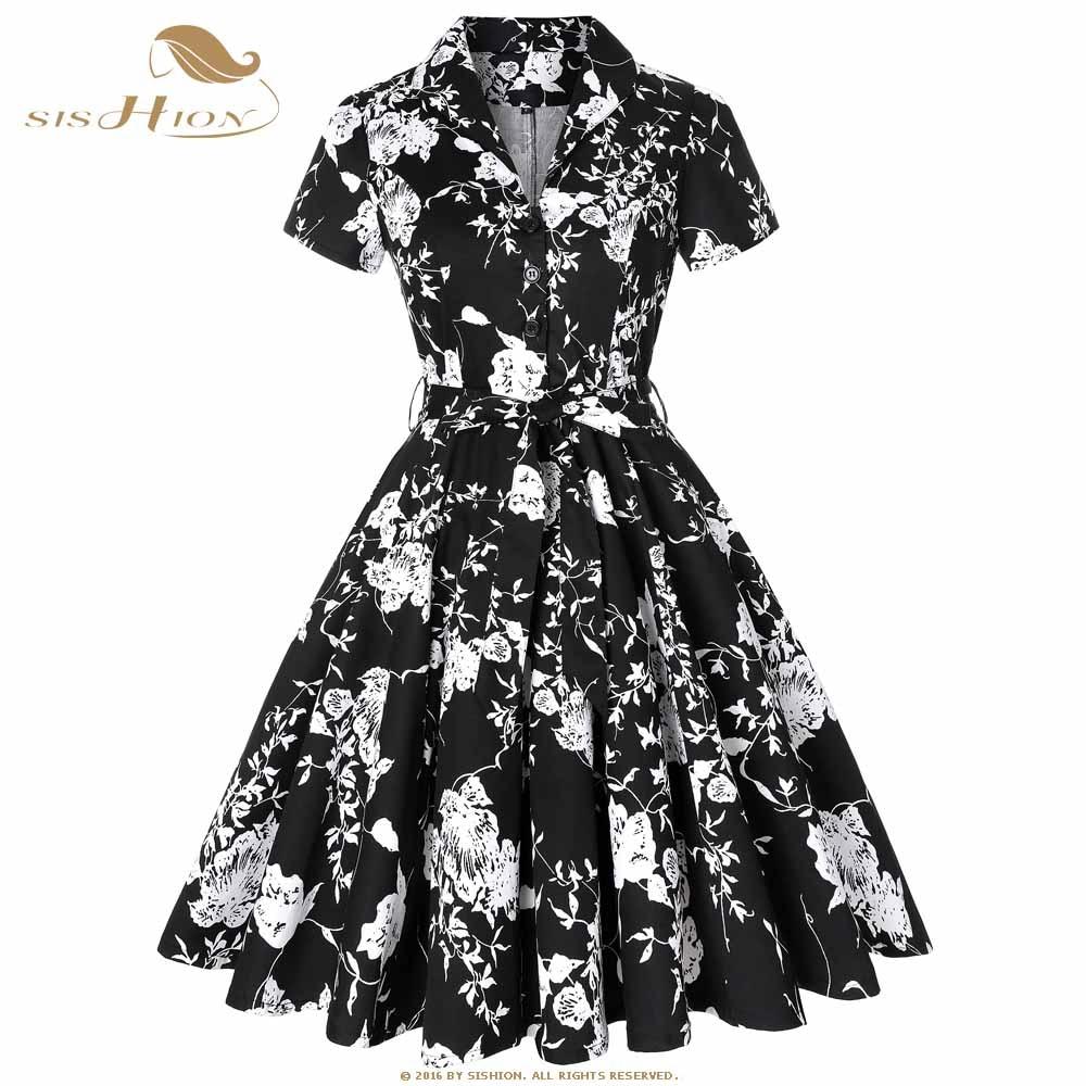 063809e7e6f0 SISHION Cotton Summer Dress Elegant 2019 Short Sleeve Women Black with White  Flower Floral Dress Plus Size Vintage Dress SD0002