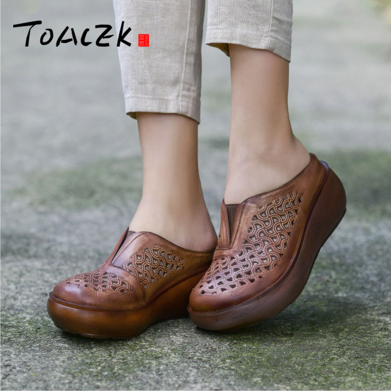 Hand made leather womens shoes thick sole wedges