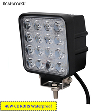 ECAHAYAKU 48W Square LED Work Light Bar Lamp For Car Offroad 4×4 ATV Truck Tractor SUV Vehicle 48w LED Work Light Flood 12V 24V