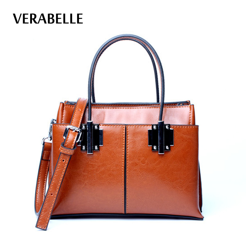 VERABELLE 2017 high quality oil waxed split leather tote women top handle handbag retro boston famale