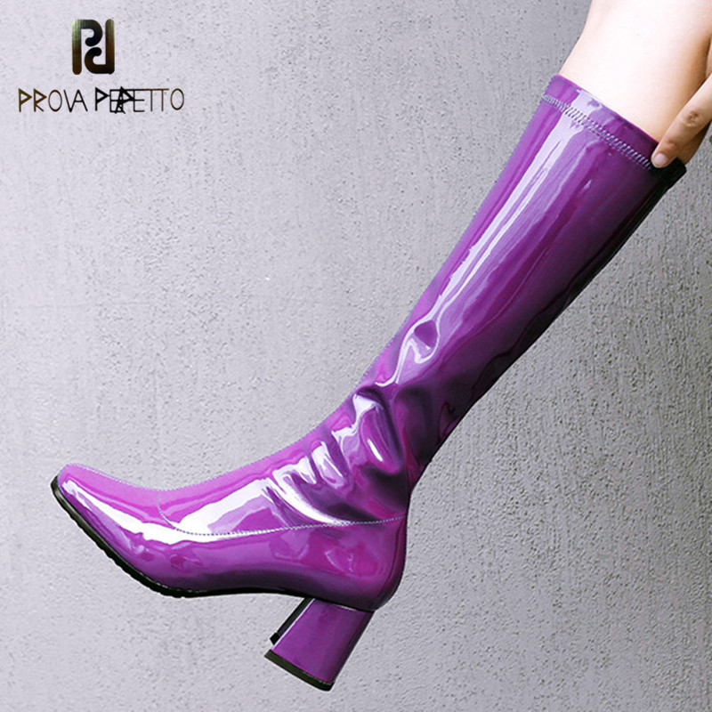 Prova Perfetto Fashion Sexy Patent Leather Thick Heel Women Boots High Heel Shoes Square Toe High Quality High Boots Girls Boots allbitefo large size 33 43 patent leather square toe thick heel women pumps fashion rhinestone high heel shoes girls shoes