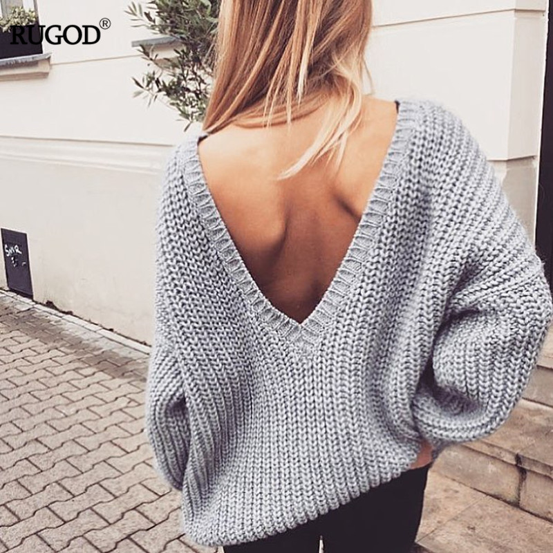 Rugod 2019 New Sexy Backless V-neck Sweater Women Pullover Autumn Winter Casual Knitted Sweater Femme Pullover Oversized Jumpers