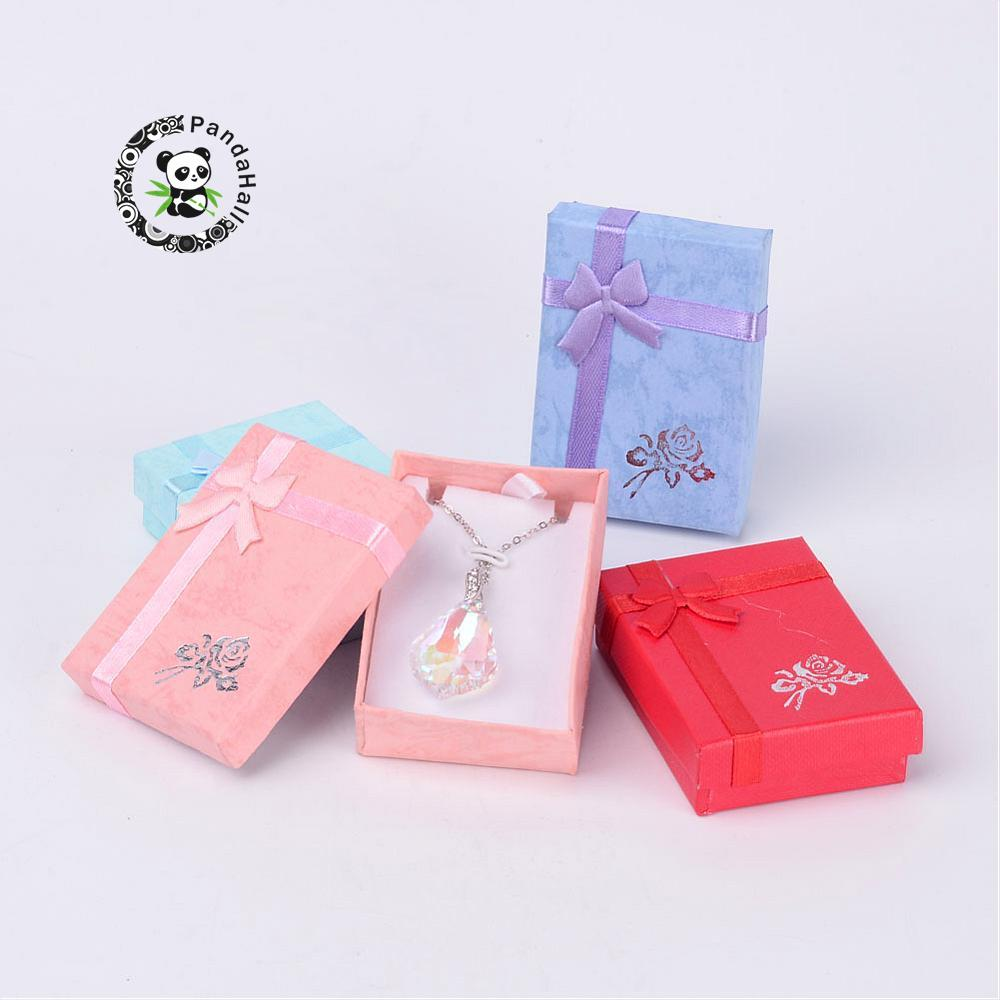 Cardboard Pendant Necklaces Boxes with Bowknot for Jewelry Rectangle Mixed Color 70x50x20mm