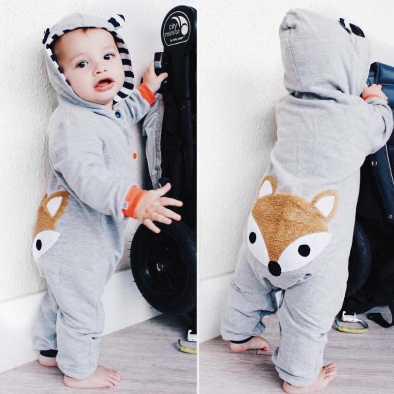 Winter Baby Rompers Cute Cartoon Fox Girls Boys Long Sleeves Hooded Romper Newborn Crawling Jumpsuit Soft Warm Infant Clothing hhtu 2017 infant romper baby boys girls jumpsuit newborn clothing hooded toddler baby clothes cute elk romper baby costumes