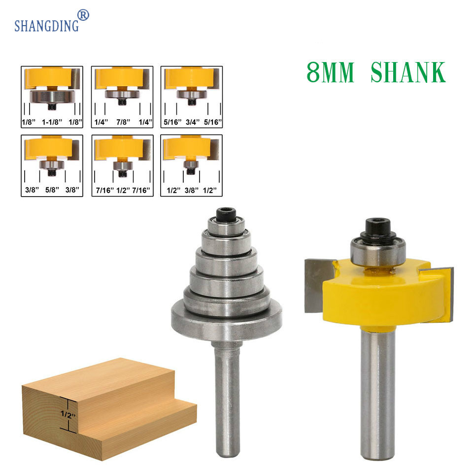 """1 pcs Rabbet Router Bit with 6 Bearings Set -1/2""""H - 8mm"""" Shank Woodworking cutter Tenon Cutter for Woodworking Tools"""
