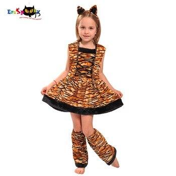 Disfraces Carnaval Eraspooky para niños Linda Banda de cabeza niños Cosplay encantador disfraz de Halloween disfraz de tigre vestido para niñas