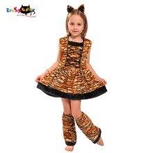 Eraspooky Costume de Carnaval pour enfants, tenue de tigre, joli Costume dhalloween, bandeau avec tête, robe Cosplay pour filles