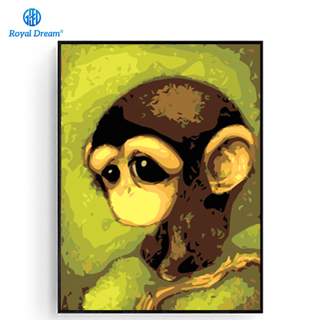 Diy Acrylic Paint By Number Kits Hand Painted On Canvas Monkey Wall