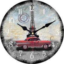 67ec001b1 كبيرة الزخرفية جولة ساعة حائط باريس برج القديمة نمط سيارة أجرة المعيشة  ديكورات للحائط Saat الأزياء
