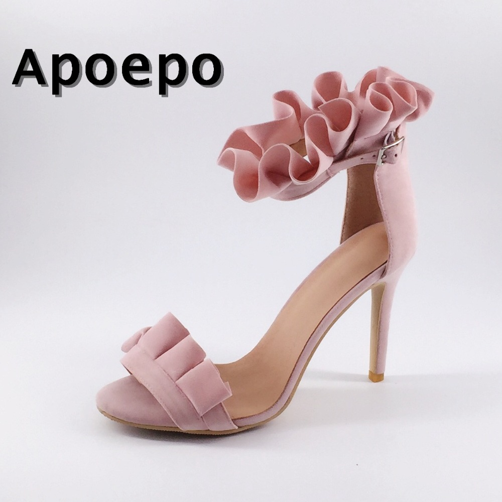 Apoepo Hot Selling Pink Suede High Heel Shoes Beautiful Ruffles Open Toe Sexy Sandal 2018 Summer Ankle Strap Woman Sandal