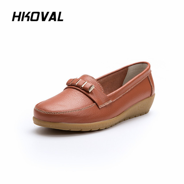 857a76e5 ... Zapatos Mujer. HKOVAL Women Shoes Sneaker Loafers Moccasins Genuine  Leather Ballet Flat Platform Ladies Shoes Female Women Shoe