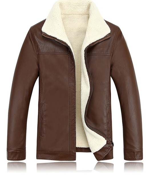 2017 autumn and winter male leather jacket slim casual sheepskin clothes plus velvet