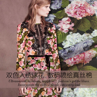 New high-end super beautiful printing to beautiful Hydrangea silk cotton cloth cotton fabric digital printing fashion dress