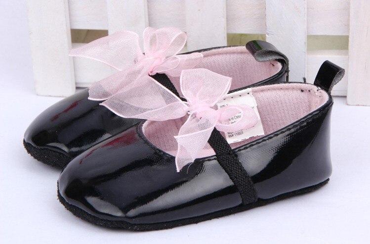 Infant Children's Princess Bowknot Black Leather Soft Sole Performance Shoes Spring Autumn