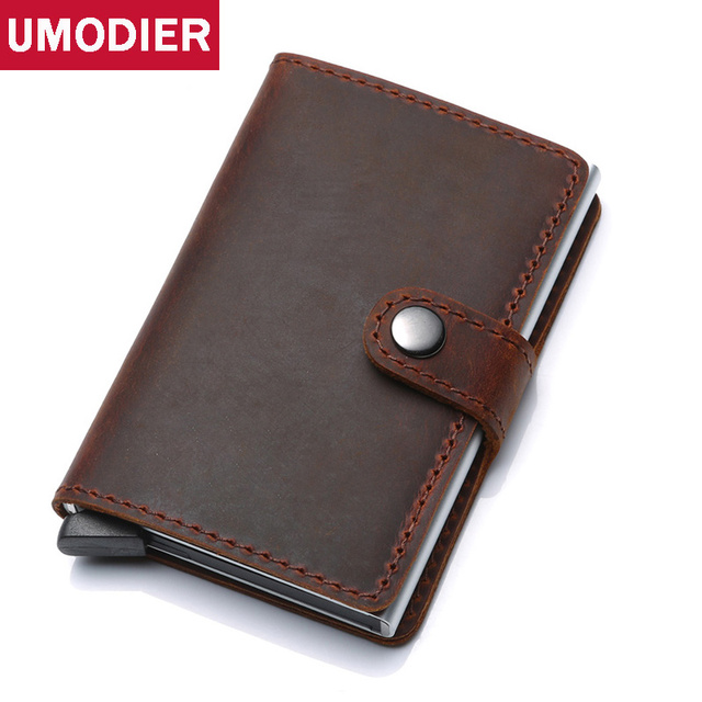 33883d796653 US $29.79 |UMODIE RFID Crazy Horse Genuine Leather Credit Card Holder Metal  Aluminium Men and Women travel Passport Cover Wallet Slim Purse-in Card &  ...