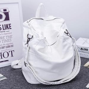 Image 4 - Anti Theft Backpack Women Casual Large Anti theft Backpacks for Travel White Zipper Soft PU Leather Antitheft Backpack Female
