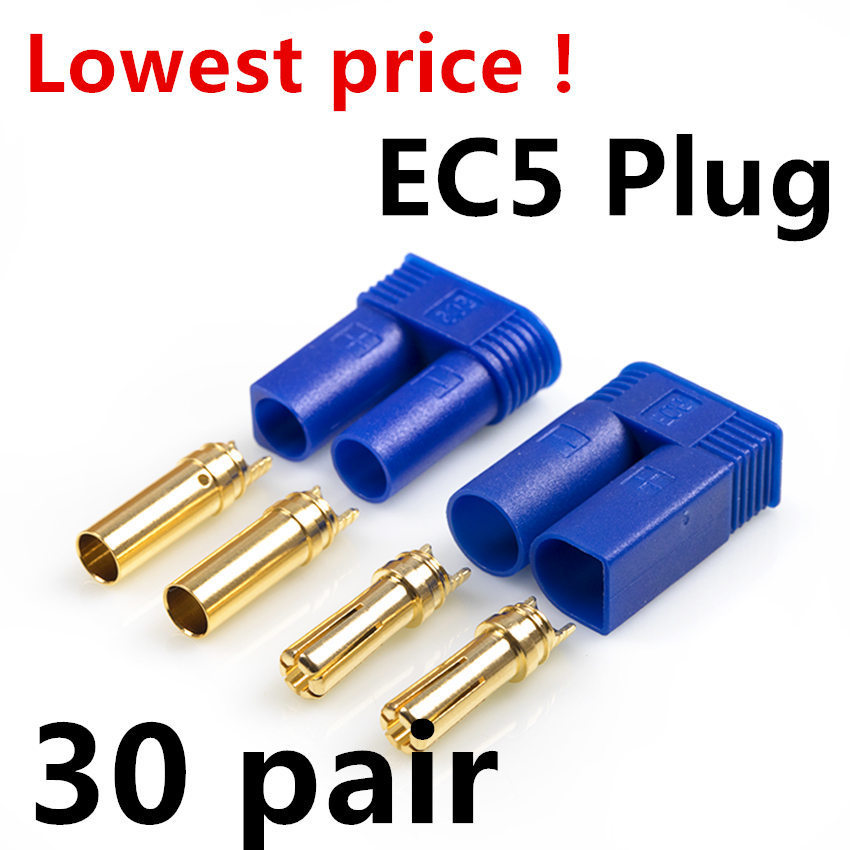 30 Pairs EC5 Device Connector Plug For RC Car Plane Helicopter Multi-Copter Battery ESC Connectors/Wiring Assembled Receivers