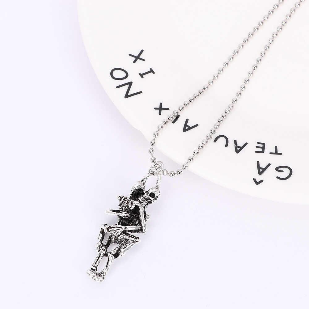 1Pc czaszka ze stali nierdzewnej wisiorek moda mężczyźni nieskończoność tybet srebrny czarny naszyjnik oświadczenie spersonalizowane czeski biżuteria prezent
