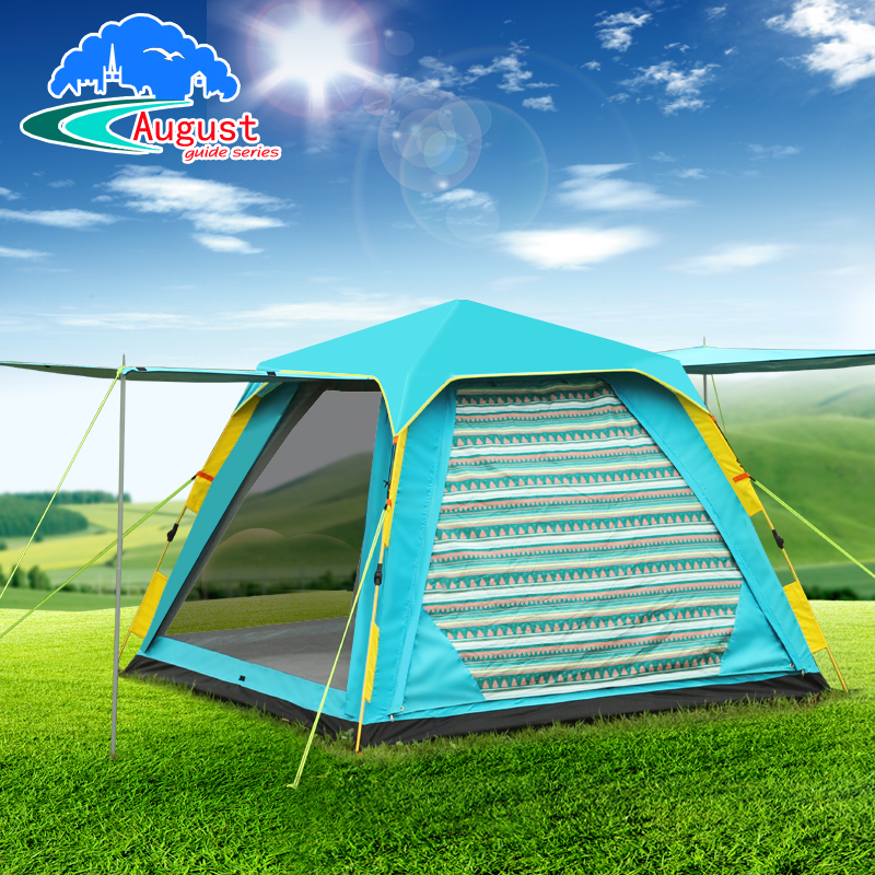 August 3-4 person 2 layer rainproof UV waterproof oxford Automatic quick open awning hiking canopy outdoor camping pergola tent large outdoor camping pergola beach party sun awning tent folding waterproof 8 person gazebo canopy camping equipment