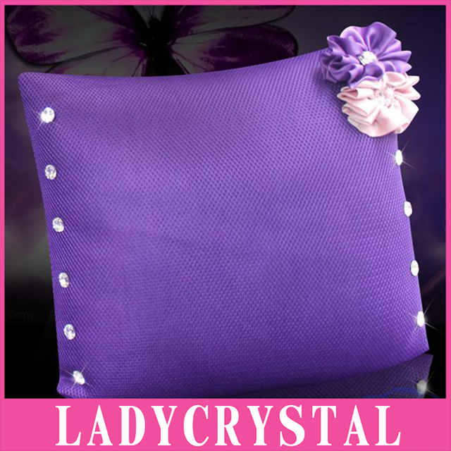 Ladycrystal Auto Accessories Flowers Diamond Car Waist Pillow Car Hold Pillow Cushion Support Girlfriend Birthday Lovely Gift