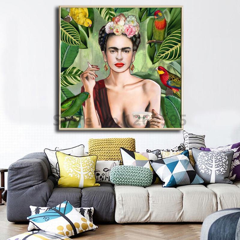 Oil, Modern, Kahlo, Con, Posters, Artwork