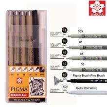 6 Chiếc Sakura Pigma Micron Bút, Lưu Trữ Sắc Tố Mực Vẽ Bút Manga Bộ (005, 01, 05, 08 FB Bút, Bôi Gelly CuộN Bút Trắng)