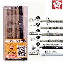 6 шт., Sakura ручка Pigma Micron, набор ручек для рисования манги с пигментными чернилами (005, 01, 05, 08, FB brush Pen, Gelly РОЛИК ручка white)