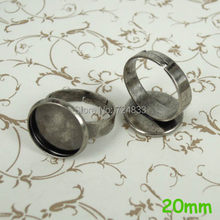 Kosong Bezel basis cincin, W / Inner 20 mm putaran lingkaran tray bantalan kuningan cincin adjustable, Pengaturan antik nada perak membuat DIY(China)