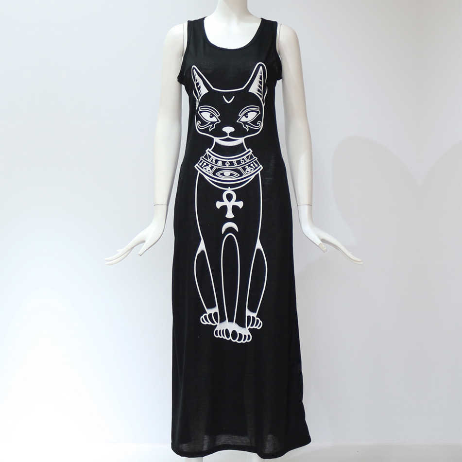 2019 Для женщин летнее, длинное, макси платье Повседневное Cat пляжное, богемное, с принтом платье пикантные Вечеринка облегающее платье Vestidos женские длинные XXXL