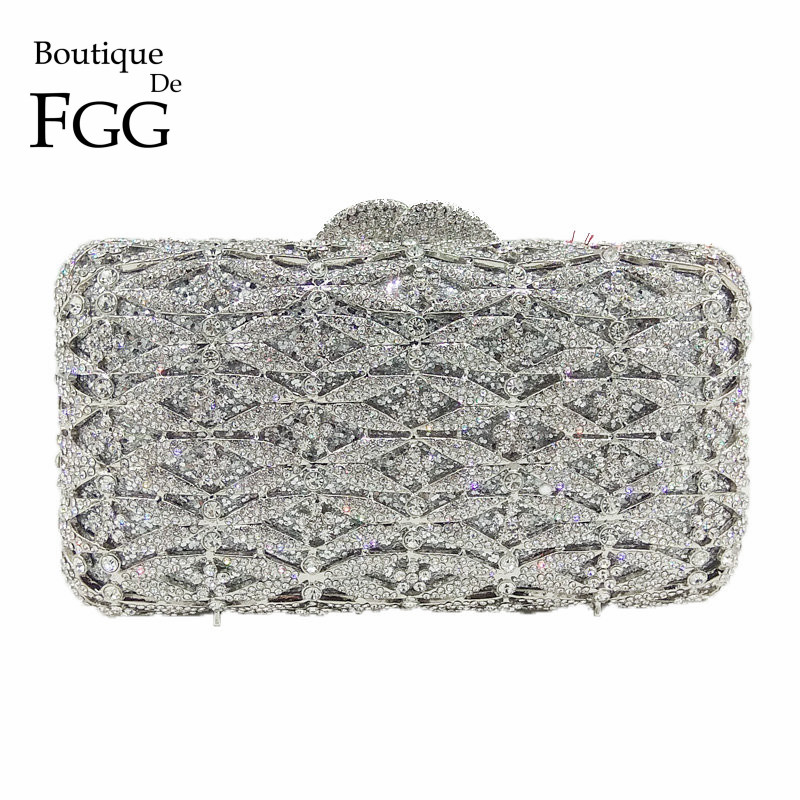 Boutique De FGG Luxury Silver Crystal Purse Evening Clutch Bag Women Metal Box Minaudiere Wedding Party